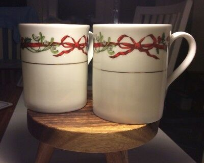 Royal Worcester Pair Of Holly Ribbons Mugs Brand New
