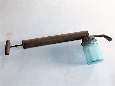 Vintage Tin Bug Sprayer with Wood Handle and Blue Canning Jar, Country Decor