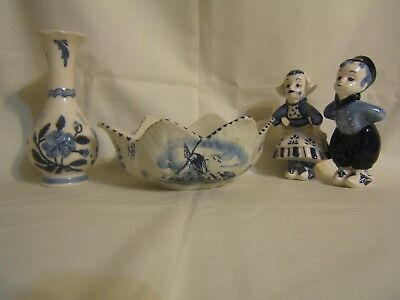 Lot of 4 Delft Hand Painted Pieces