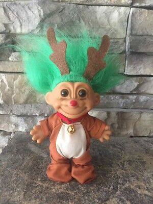 "Troll Doll By Russ! 4 1/2"" Green Hair Brown Eyes! Rudolph Red Nose Christmas Tro"