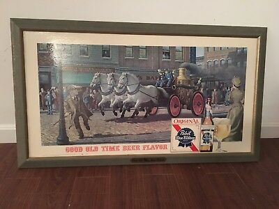 Pabst Blue Ribbon Advertising Sign Fire Engine Horse P-603 Original