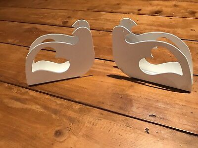 set of 3  Ikea serviette holders white doves used once at a wedding