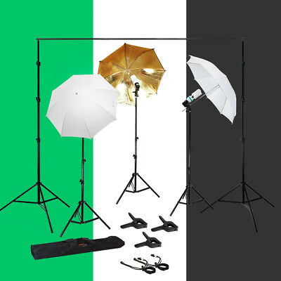 Photo Studio Photography Lighting Kit 3 Muslin Backdrop Umbrella Stand Bulb Set