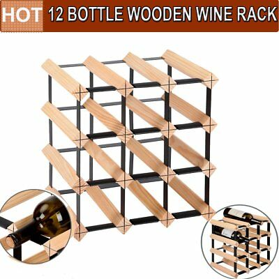 12 Bottles Solid Timber Wooden Wine Rack Holder Storage Cellar Kit Home Starage