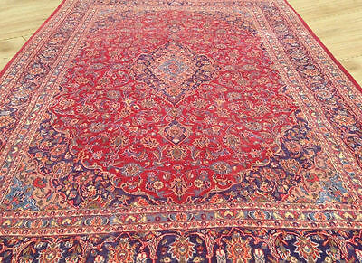 Low Price Hand Knotted Semi Antique Persian Kashan Large Area Rug 10x13 Ft (M2)