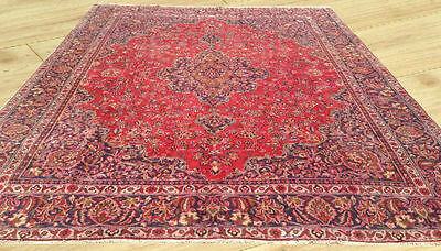 Low Price Hand Knotted Semi Antique Persian Mashad Large Area Rug 9 x 12 Ft (M3)