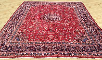 Cr 1930 Signed Antique Hand Knotted Persian Sarough Area Rug 10 x 12 Ft (M7)