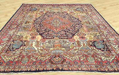 Cr 1930 Antique Hand Knotted Persian Pictorial Kashmar Area Rug 10 x 13 Ft (M8)