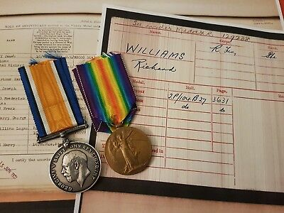 WW1 Victory & British war Medal Pte Williams 10th Royal Fusiliers