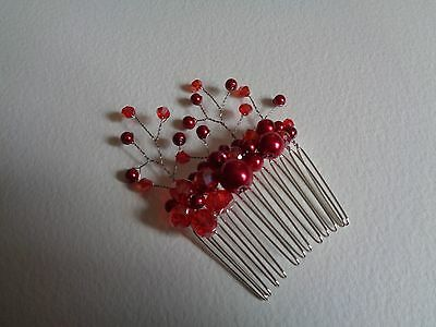 Red crystal glass pearl hair comb spray wedding bridal bridesmaid prom party
