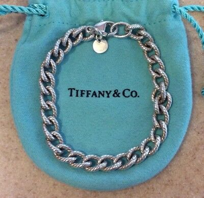RARE Tiffany & Co TEXTURED LINK Heavy Charm Bracelet Sterling Silver