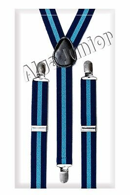 Y-Shape Braces Adjustable Clip on Suspenders 5 - 15 year striped black blue
