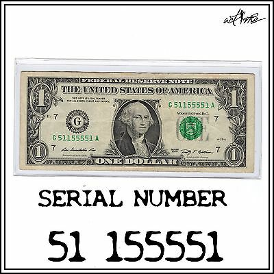 Binary Fancy Serial Number Note. $1 Dollar Bill, FRN Bookend, 5/8 Solid Banknote