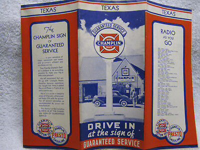 Antique Champlin Texas Gas Oil Station Road Map