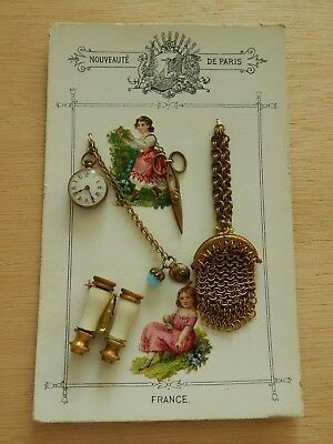 Antique French Fashion Accessory Card !