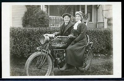 Real Photo Rppc Postcard Young Couple On An Indian Motorcycle 1912 #2