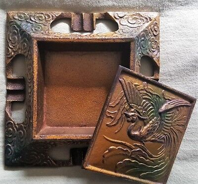 Art Nouveau Antique Desk Set/Enameled Brass Ashtray/Arts & Crafts/Phoenix Bird