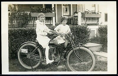 Real Photo Rppc Postcard Two Cute Children On An Indian Motorcycle 1912 #3