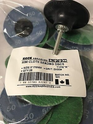 GREEN 50 Grit KEEN Roloc DISC, 3 IN, 22874 (25/PACK) w/Free Arbor