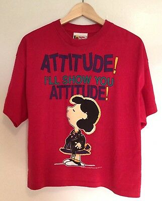 VTG 90s PEANUTS Lucy Leather Jacket ATTITUDE T-Shirt Hot Pink Punk M/L