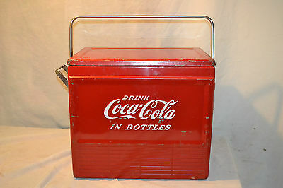 Vtg Coca-Cola Bottles Ice Cooler Chest w/ sandwich tray Bottle opener Camping