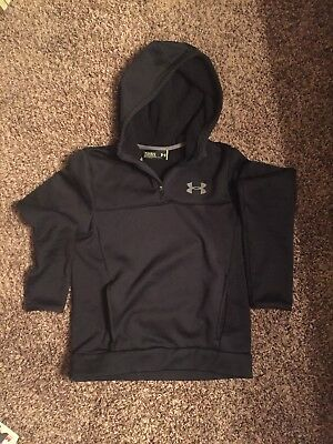 Under Armour BlackbLoose Fit Cold Gear 1/4 zip Boys Hoodie Sz Youth Large