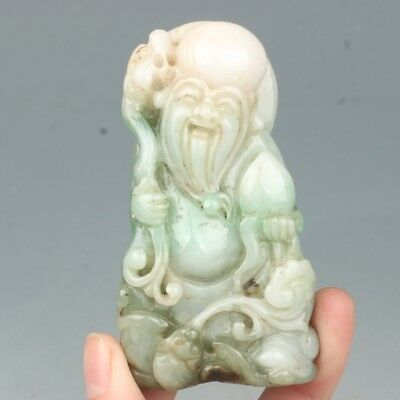 China Exquisite Hand-carved Longevity bat carving Jadeite jade pendant
