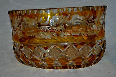 """19th Century Antique BOHEMIAN MOSER Cut Glass Crystal Amber  Clear 8"""" Bowl"""