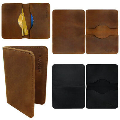 Real Genuine Leather RFID Blocking Slim Minimalist Bifold Wallet