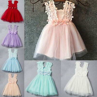 Summer Princess Girl's Tutu Dress Kids Baby Floral Lace Party Dress Size 2-7Y