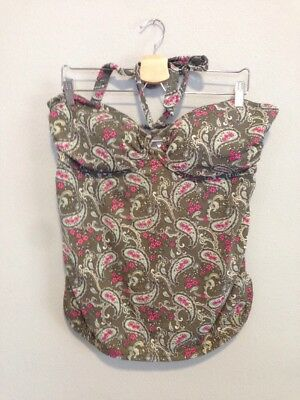 Women's Motherhood Maternity Bathing Suit Top Halter Neck Green Paisley Print XL