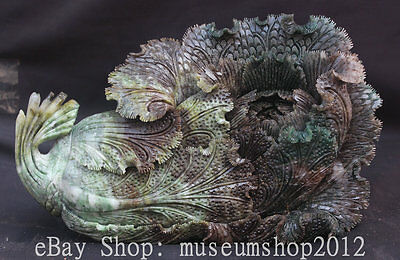 """12"""" Chinese Natural DuShan Jade Handmade Carved Cabbage Wealth Decoration Statue"""