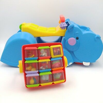 Fisher Price Gobble & Go Hippo Walker/ Ride-On w/Circus Set of Peek A Blocks