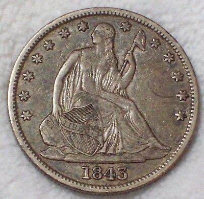 1843 SILVER Seated Liberty Half Dollar Authentic XF Original Not Cleaned 50C