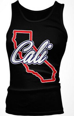 Cali State Outline California Script Red Born Raised From Love CA Girls Tank Top