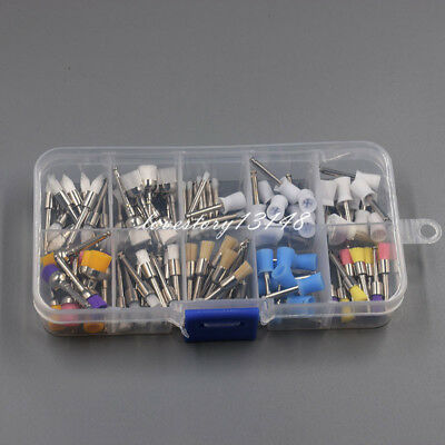100 Pcs Nylon Latch Flat Polishing Dental Prophy Brushes Cups Kit Mixed Color