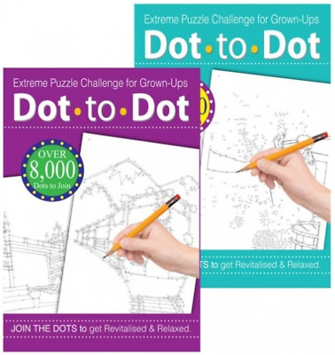 DOT TO DOT PUZZLE DRAWING BOOK Challenge Adults Teenage Relaxing Hobby Activity
