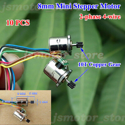 10PCS Mini 8mm Stepper Motor 2-Phase 4-Wire With 10 Teeth Metal Copper Gear