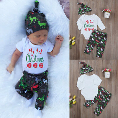 My 1st Christmas 3PCS Baby Boy Girl Xmas Outfits Clothes Romper +Deer Pants Hat
