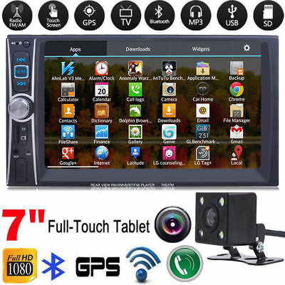 7'' HD Double 2DIN Bluetooth Touch Screen Car Radio Stereo MP5 MP3 Player HD+Cam