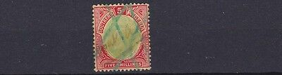 Southern Nigeria 1907 Sg 30  5/-  Green & Red Yellow  Used  Cat £40  Fiscal
