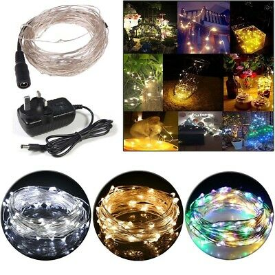 Micro 10M 100LED Fairy Rice Silver Wire String Lights Mains Powered Xmas Wedding