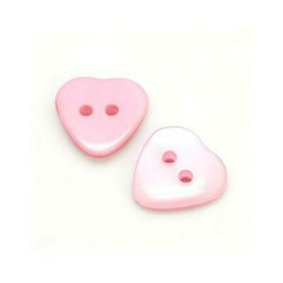 Packet 20 x Pink Resin 15mm Heart 2-Holed Sew On Buttons Y09195