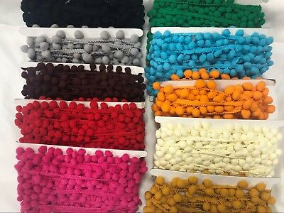 Crafts-Home -Sewing-Dressmaking-Trimming-Decoration POM POM TRIM Colours-Metres