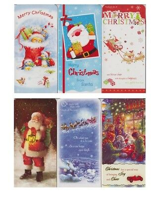 Pack Of 6 Cute & Traditional Christmas Money Voucher Gft Gard Wallets & Envelope