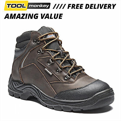 Dickies Leather Work Safety Boots - Davant Water Resistant Steal Toe Hiker
