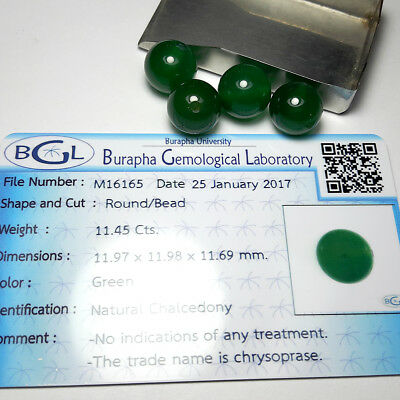 48.15 ct. Natural Ball Round Cabochon Green Chalcedony & Certificate Card