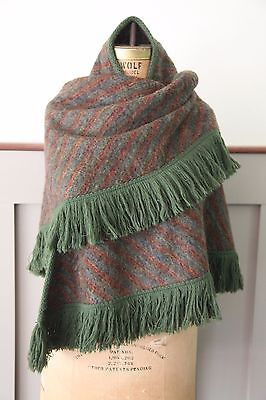 Excellent Condition Beautiful Vintage Mohair Wrap-Plaid Woven Scarf-Fringe Shall