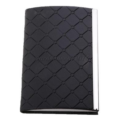 Credit ID Business Card Holder PU Leathre & Stainless Steel Pocket Black