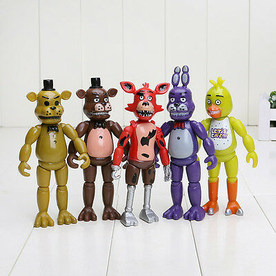 "5Pcs Set of FNAF Five Nights at Freddy's 6"" Action Figures With Light Toys Gifts"